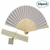 10pcs Silk hand Fan versus Gift Box Party or wedding Gifts (Beige) WEN FEIYU