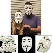 Adorox (12 Masks) V for Vendetta White Costume Face Mask Anonymous Guy Fawkes