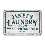 Personalised Vintage Distressed Look Laundry Wash Press Fold Metal Room Sign