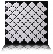 Tic Tac Tiles Anti-Mould Peel and Stick Wall Tile in Damask White