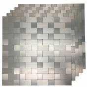 Art3d 5 Piece Peel and Stick Tile Metal Backsplash for Kitchen, Silver Aluminium Surface