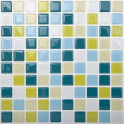 Tic Tac Tiles Smart Peel and Stick Wall Tiles in Mosaic Peacockgreen