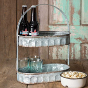 Galvanised Steel Industrial Country Corrugated Oval Tray 2 Tier Display