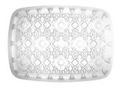 Party Essentials Hard Plastic 25cm x 38cm Rectangular Diamond Cut Serving Tray, Crystal Clear,, Single Unit