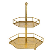 Kate and Laurel Felicia 2 Tiered Metal Decorative Accent Tray, Gold