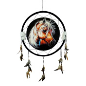 "HORSE HEAD Dream Catcher 24"" x 42"" Natural Wall Hanging with Beads, Feathers, Hanging Nail and Descriptive Card Bundle by Imprints Plus"