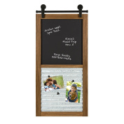 Kate and Laurel - Sugarbrook Wood Framed Chalkboard and Clip Collage Wall Organiser and Message Centre with 6 Magnetic Clips, Rustic Brown 17 x 34.5