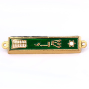 Gold plated Star of David with Torah book Mezuzah with scroll - Green