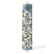 15cm Hand Painted Mezuzah Embellished with a Ivy and Flowers Design 24K Gold Plated and Blue Crystals by Matashi