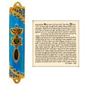 Messianic Seal Mezuzah Case with Scroll For Door Blue Enamel & Crystals Mezuzah From Israel Judaica Gift 8 cm