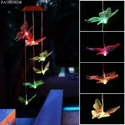 Solar Led Butterfly Wind Chimes, PATHONOR Colour-changing Wind Chime Waterproof Automatic Light Sensor Outdoor Decor for Home Party Balcony Porch Patio Garden, Upgraded Version