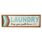 """NIKKY HOME Decorative Wood Framed Wall Plaue Laundry Sign """"Drop your pants here"""", Blue"""