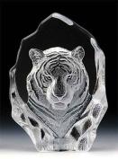 Engraved Lead Crystal -- Tiger Head