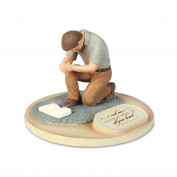 Lighthouse Christian Products Devoted Praying Man Sculpture, 6 x 15cm x 10cm