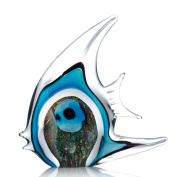 Tooarts Blue Stripe Tropical Fish Glass Sculpture Home Tabletop Decoration