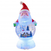 Santa with Sleeping House Scene 9 x 4.5 Acrylic Christmas Water Globe Figurine
