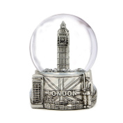 Silver London Snow Globe with Big Ben and Union Jack Flag, (8.9cm Tall), London Snow Globe