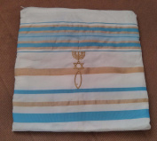 Zuluf Light Blue and Gold Grafted In Messianic Tallit Talit Prayer Shawl 60cm x 180cm with matching Bag