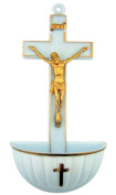 Jesus Christ on Cross Moulded Acrylic Holy Water Font, White, 13cm