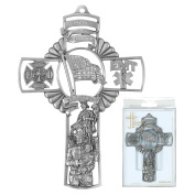 God Bless Our Firefighters Saint Florian 13cm Pewter Hanging Wall Cross