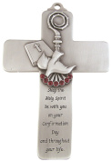 Pewter Holy Spirit Dove Wall Cross with Confirmation Message, 13cm