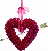 Valentine's Day Heart Wreath with Roses 34cm - Glittered Gold Cupid's Arrow and Hanging Ribbon on Artificial Clustered Rose Wreath