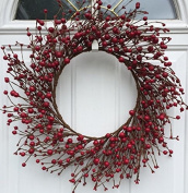 Mixed Red Berry Wreath 60cm Handmade Fall Thanksgiving Christmas Valentines Day Front Door Wreath Wall Decor