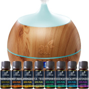 ArtNaturals Essential Oil and Bluetooth Diffuser Set - 400ml & Top 8 - Peppermint, Tee Tree, Rosemary, Orange, Lavender, and Frankincense - Auto Shut-off and 7 Colour LED Lights – Therapeutic Grade