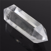 "Clear Quartz Crystal,Charminer 6 Facet Double Terminated Point Wand Healing Natural Clear Crystal Hexagonal Prism Stone about 7cm/2.8""L Home Decor"