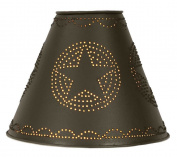 10cm x 25cm x 20cm Punched Tin Star Lamp Shade in Rustic Brown