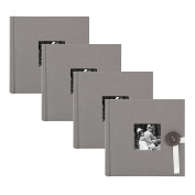 DesignOvation Kim Fabric Photo Albums with Ribbon and Button Closures, Holds 200 4x6 Photos, Set of 4, Grey