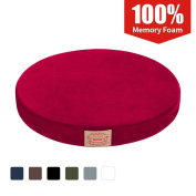 Shinnwa Polyester Supper Soft Cushion Round Memory Foam Seat Cushion Short Plush Lumbar Support Pillow Home Office Chair Pad Red 41cm