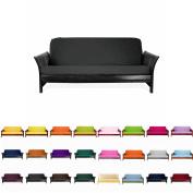 Magshion F Futon-F-Blk Colourful Cover Slipcover, Full Size, Black
