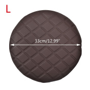 Jiyaru Round Stool Cover Faux Leather Bar Chair Seat Thicken Slipcpver Coffee 33cm