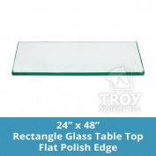 TroySys Tempered Glass Table Top, 0.6cm Thick, Flat Polished Edge, Eased Corners, Rectangle