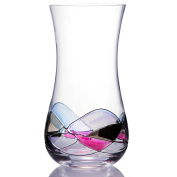Handcrafted Blown Glass Flower Vase by Sonoma Artisan; Elegant Design with a Modern Twist; Use to Display Beautiful Bouquets or as a Decorative Accent; Unique & Special Gift Idea for Many Occasions