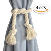 BTSKY 4 Pieces Cotton Curtain Rope Tiebacks-Handmade Window Curtain Decorative Holdbacks Vintage Style Drapery Tieback