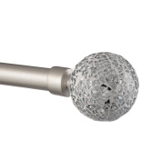 Exclusive Home White Mosaic 2.5cm Curtain Rod and Coordinating Finial Set, Matte Silver, Adjustable 170cm - 300cm