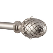 Exclusive Home Acorn 2.5cm Curtain Rod and Coordinating Finial Set, Matte Silver, Adjustable 90cm - 180cm