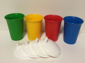 Tupperware Bell Tumblers with Domed Sipper Seals in Green, Red, Blue, and Yellow