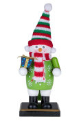 Traditional Christmas Snowman Nutcracker by Clever Creations | Holding Gift | 15cm Tall Perfect for Shelves and Tables | Wearing Green Snowflake Sweater | Red and White Scarf | 100% Wood