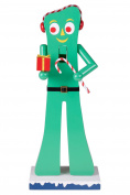 Gumby Wooden Christmas Nutcracker by Clever Creations | Officially Licenced | With Earmuffs, Gift, and Candy Cane | Perfect for Any Collection | Holiday Home Décor Figure | 100% Wood | Stands 36cm Tall