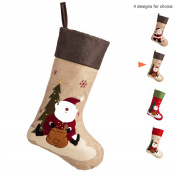 iPEGTOP 46cm Burlap Christmas Stockings, Large Craft Socks Traditional Santa Stocking Snowflake Decorations Xmas Tree Rustic Ornaments Brown Cuff