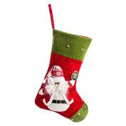 iPEGTOP 38cm Felt Christmas Stockings, Craft Holiday Tree Hanging Red Socks Ornaments Decorations Santa Stockings Green Trim