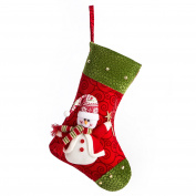 iPEGTOP 38cm Felt Christmas Stocking, Craft Holiday Tree Hanging Red Socks Ornaments Decorations Snowman Stockings Green Trim