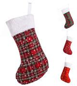 "SANNO 16"" Red Tartan Christmas Stockings,Plaid Stocking Craft Socks With Traditional Snowflake Design , 16"" Long"