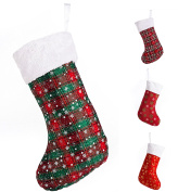 "SANNO 16"" Christmas Hanging Stockings, Plaid Stocking Craft Socks Trendy Red and Green Tartan Christmas Stocking with Snowflake decorations, 41cm Long"