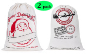 2 Pack Large Santa Sack Christmas Gift Bag with Drawstring 50cm x 70cm for Storing Christmas Presents & Holiday Gifts