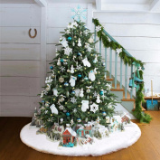120cm Faux Fur Christmas Tree Skirt , Big Soft Snowy White Tree Skirts for Xmas Holiday Decorations Pet Favours