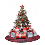 EDLDECCO 120cm Christmas Tree Skirt with Red and Black Buffalo Cheque Tree Skirt Double layers a Fine Decorative Handicraft for Holiday Party
